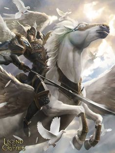 Artist: Marc Lee aka marcwashere - Title: Valkyrie - Card: Defender of Light Leandra (Pegasus) #Pegasus #Fantasy #Warrior
