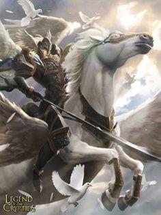 Artist: Marc Lee aka marcwashere - Title: Valkyrie - Card: Defender of Light Leandra (Pegasus)