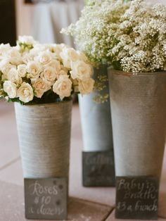 white roses and babys breath, Photo by Kate Headley.