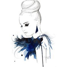 Print from original watercolor, pen and china marker fashion... via Polyvore