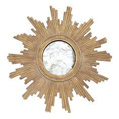 Worlds Away Versailles Gold Leaf Hand Carved Starburst Mirror