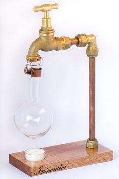 THE BIG TAP Inscentive Oil burner/Oil Diffuser. A cool modern industrial piece! Love the brass tap and copper tubing! More designer Oil Burners at https://www.etsy.com/au/listing/233250438/the-big-tap-designer-oil-burnerdiffuser