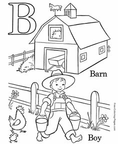 Kids Farm ABC Coloring Pages, Letter B free printable Pre-K alphabet coloring pages featuring ABC coloring page sheets Letter B Coloring Pages, Coloring For Kids, Coloring Pages For Kids, Coloring Books, Coloring Sheets, Coloring Stuff, Colouring, Preschool Learning, Fun Learning