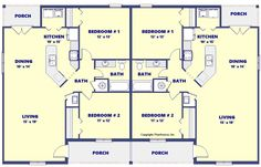 2 Bedroom 1 Bath Duplex with covered porches Duplex Plans, Covered Porches, Investment Property, House Plans, Investing, Floor Plans, Homes, Bath, How To Plan