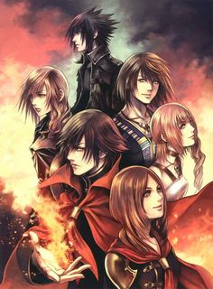 Noctis Lucis Caelum, Lightning Farron, Noel Kreiss, Serah Farron, Machina Kunagiri, Ren Tokimaya, Final Fantasy Fabula Nova Crystallis