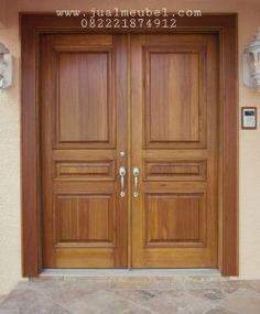 Doors Solid Wood Front Entry Double Doors With Double Door Knobs