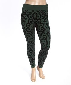 Look at this Hunter Green Baroque Leggings - Plus on #zulily today!