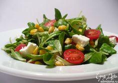 Полевой салат с фетой, кукурузой и помидорками черри. Легкий, вкусный и полезный ужин. Приятного аппетита! #edimdoma #cookery #recipe #salad #supper
