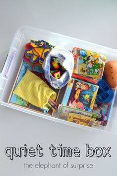 Quiet Time Box. What a great idea!  We don't need it yet, but I'm sure in the future we will.