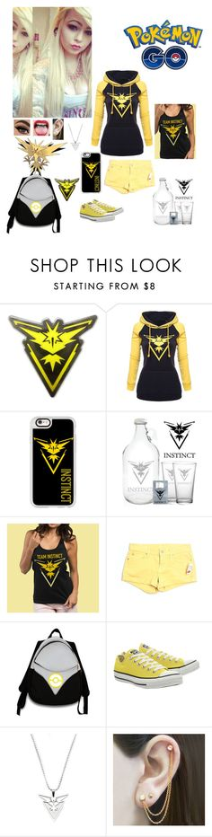 """Pokemon GO ~ Team Instinct"" by kristina-shadowheart ❤ liked on Polyvore featuring Kanto, Casetify, 7 For All Mankind, Valor, Converse and Embers Gemstone Jewellery"