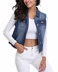 486697906f82c MISS MOLY Denim Vest Women Washed Buttoned w 2 Chest Flap Pockets Women s  Coats