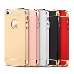 Luxury Metal Plating Plastic Hard Case For iPhone 5 5S 5SE 6 6S 7 Plus Protect Cover Fundas Case Cover for iPhone 7 Phone Cases