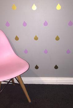 Rain Drops Removable vinyl wall decals. Interior design • kids rooms • nursery • girls rooms • boys rooms Removable Vinyl Wall Decals, Rain Drops, Girl Nursery, Girl Room, Interior Design, Chair, Girls, Furniture, Home Decor