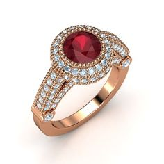 The Vanessa Ring - rose gold setting with ruby and diamonds (=)