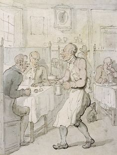 "1810-1815 print: ""A City Chop House"" by Thomas Rowlandson - Chop houses were common establishments in 18th and 19th century Britain, where men could buy a meal and drink for a relatively low price.  More often than not, to eat one's dinner at a chop house was the sign of a bachelor - and, therefore, was not always desirable in a society where to be a married homeowner was a mark of masculinity and maturity."