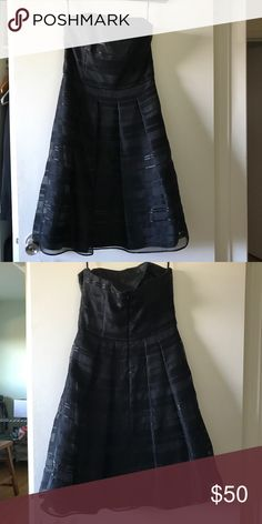 White House || Black Market Strapless Dress Love this beautiful strapless dress, but I don't fit into anymore. Has a striped pattern and pockets. White House Black Market Dresses Strapless