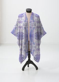 Sheer Wrap - Windsong Mauve Wrap in Blue/Purple/White by VIDA Original Artist Mauve, Fashion Art, Summer Outfits, How To Make, How To Wear, Kimono Top, The Originals, Purple, Floral