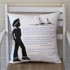 """""""I must down to the seas again"""" poem on overpriced pillow from c o t t a g e - a coastal store"""