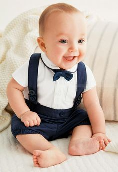 Boys Christening outfit - White or grey pants with shirt and suspenders and maybe vest and bow tie