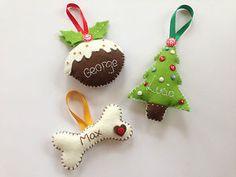 Handmade Personalised Felt Christmas Tree Decorations Ornaments Pudding Dog Bone | eBay