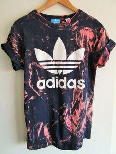 Vintage acid wash tie dye adidas originals retro rave festival unique urban grunge Ibiza unisex skater T-shirt