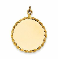 14K Yellow Gold Plain .013 Gauge Circular Engravable Disc with Rope Charm - http://www.specialdaysgift.com/14k-yellow-gold-plain-013-gauge-circular-engravable-disc-with-rope-charm-4/
