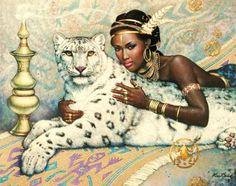 Pinturas de Mulheres com Animais Selvagens - Karl Bang - Pinturas do A'Uwe