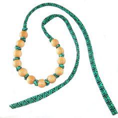 Tropical Statement Choker Necklace Wood Bead Choker by FabricTwist