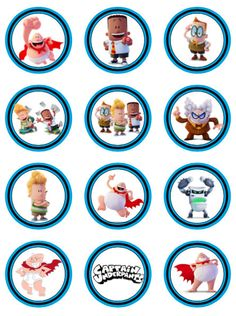 Captain Underpants movie party favor tags goodie bags cupcake toppers stickers round 2 inch printable download label 22807 by printablespalace on Etsy
