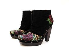Rosie Hand Painted Up-cycled Women's Suede Platform Ankle