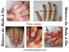 Inspirações de unhas decoradas com design romântico.
