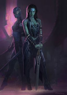 Guardians of the Galaxy - Gamora and Nebula concept art by Andy Park *