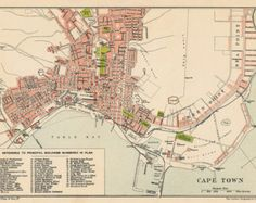 Cape Town map - Old map of Cape Town print - Fine reproduction on paper or canvas Vintage Maps, Antique Maps, Houses Of Parliament, Old Maps, Most Beautiful Cities, Historical Pictures, Old City, Vintage Photographs, Cape Town