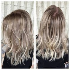 """This client came in with all over platinum blonde hair! We have her an easier maintenance look by keeping her pearly natural root color, and smudging it…"""