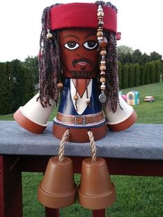 One of my favs, terra cotta pot captain Jack Sparrow by Pekes Artistry