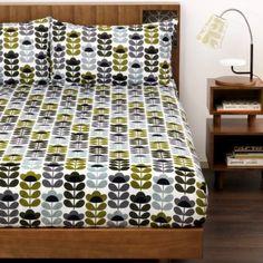 Orla Kiely Sweet Pea Sea Blue King Size Duvet Cover Cotton Bed Linen