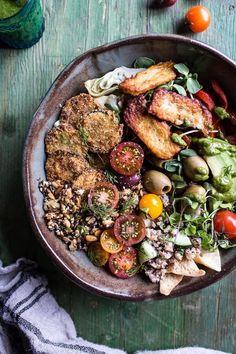 "Greek Goddess Grain Bowl with ""Fried"" Zucchini, Toasted Seeds and Fried Halloumi #greek #salad #veggies"