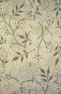 """William Morris, """"Jasmine"""", 1872: I generally go for minimalist stuff, but I make an exception for Morris wallpapers, which I adore like gangbusters. I wanted something like this for an accent wall in my bedroom. (Planned color scheme: shades of warm/cool grey.) Pity it's so hideously expensive!"""