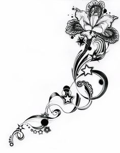 Classic Grey Iris And Stars Tattoo Design