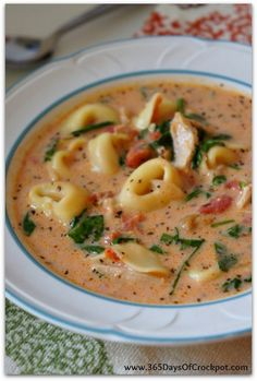 Slow Cooker Creamy Tortellini, Spinach and Chicken Soup with Parmesan Cheese