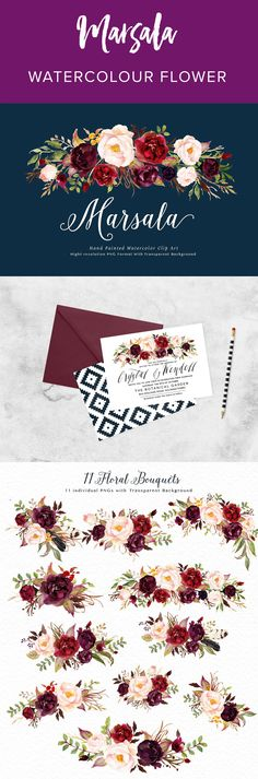 This is a mini pack - Marsala from Tribe flower collection. The main color way of this pack is burgundy, it is very perfect for your wedding stationery in rustic, boho chic, vintage style. Just enjoy and have fun!