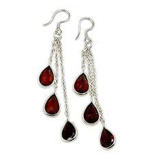 Flames Of Love' Sterling Silver Garnet Chandelier Earrings