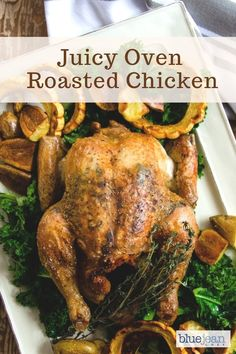 Whole Roast Chicken is a classic dish every home cook should know - it's easy, versatile, satisfying, delicious and pleases so many tastes. Follow the simple steps in this recipe and see how to make a juicy chicken in your oven. Add some gravy and vegetables and dinner is served. #bluejeanchef #wholechicken #roastchicken Oven Roasted Chicken, Roast Chicken Recipes, Keto Chicken, Turkey Recipes, Easy Dinner Recipes, Easy Meals, Dinner Ideas, Healthy Dinners, Easy Recipes
