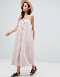 Find the best selection of ASOS Minimal Cami Jumpsuit with Button Detail. Shop today with free delivery and returns (Ts&Cs apply) with ASOS! Maternity Jumpsuit, Maternity Fashion, Pregnancy Fashion, Boho Outfits, Fall Outfits, Fashion Outfits, Winter Date Night Outfits, Europe Outfits, Minimalist Dresses