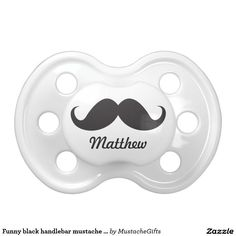 Funny black handlebar mustache stache personalized BooginHead pacifier. Baby Shower, Gifts For Babies.