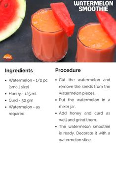 Watermelon Smoothie | Tasted Recipes Watermelon Smoothie Recipes, Watermelon Slices, Healthy Drinks, Healthy Foods, Healthy Recipes, Coconut Recipes, Gluten Free Recipes, Cook N, Vegetarian Snacks