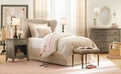 Kids Bedroom, Wonderful Classic Little Girls Room Inspirations: Cream Elegant Pink Gray Girls Room Design