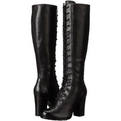 Frye Parker Tall Lace Up Women's Lace-up Boots, Black ($320) ❤ liked on Polyvore featuring shoes, boots, black, platform boots, long boots, black boots, high heel platform boots and zipper boots