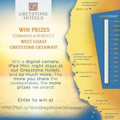 Enter to win hotel stays & #travel prizes from @Greystone Hotels for your #westcoast vacation! The more people to enter, the more that you win! Click the image to enter!