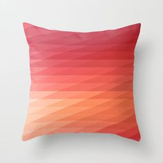 16x16 Coral Pink & Peach Geometric Striped by iamchristinabot, $20.00